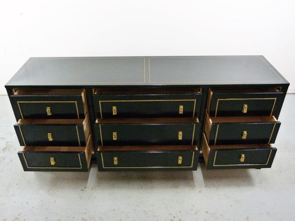 Black Lacquered Gilt Dresser American of Martinsville Mid-Cneutyr Img 4