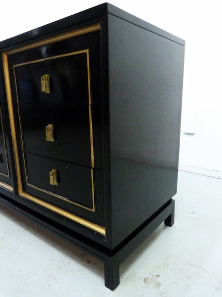 Black Lacquered Gilt Dresser American of Martinsville Mid-Cneutyr Img 6