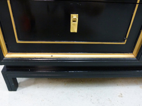 Black Lacquered Gilt Dresser American of Martinsville Mid-Cneutyr Img 7