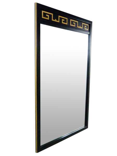 Black Lacquer Gold Greek Key American Martinsville Mirror Mid-Century Img 2