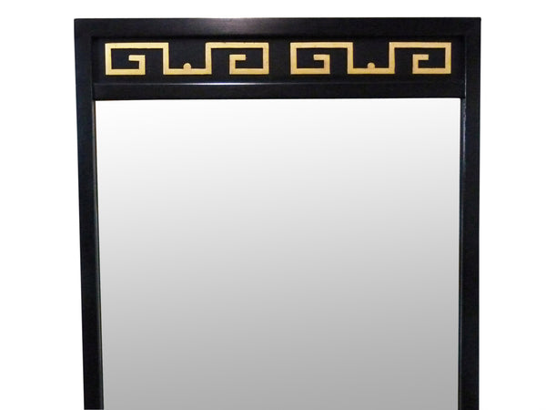 Black Lacquer Gold Greek Key American Martinsville Mirror Mid-Century Img 4