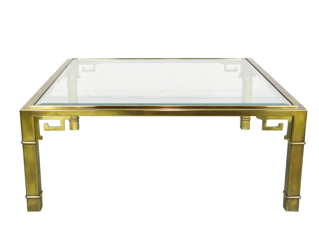 Greek Key Square Brass Coffee Table Glass Mastercraft Img 1