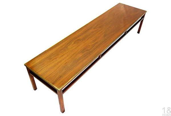 McCobb-Style Imperial Grand Rapids Mid-Century Walnut & Brass Coffee Table Img 2