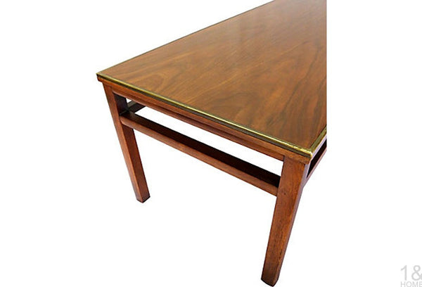 McCobb-Style Imperial Grand Rapids Mid-Century Walnut & Brass Coffee Table Img 3