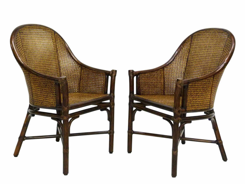 Bamboo Cane Barrel Chairs McGuire Front Angle
