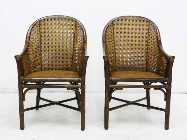 Bamboo Cane Barrel Chairs McGuire Front