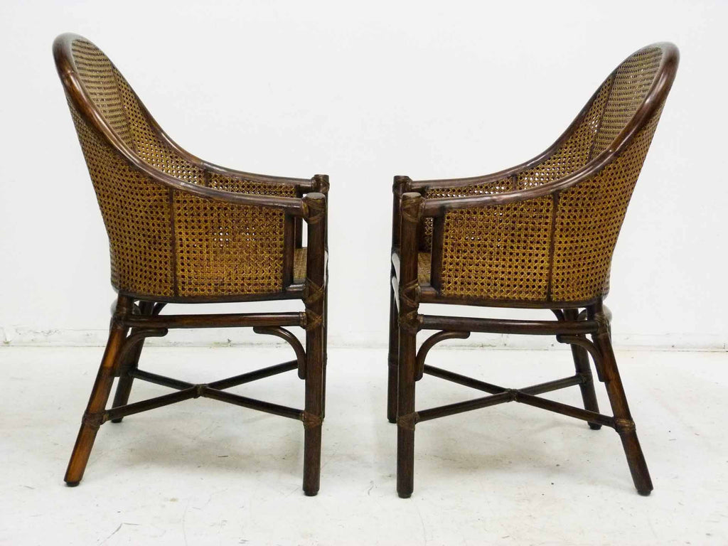 Bamboo Cane Barrel Chairs McGuire Side - Bamboo & Cane Chairs By McGuire, Pair OneAndHome