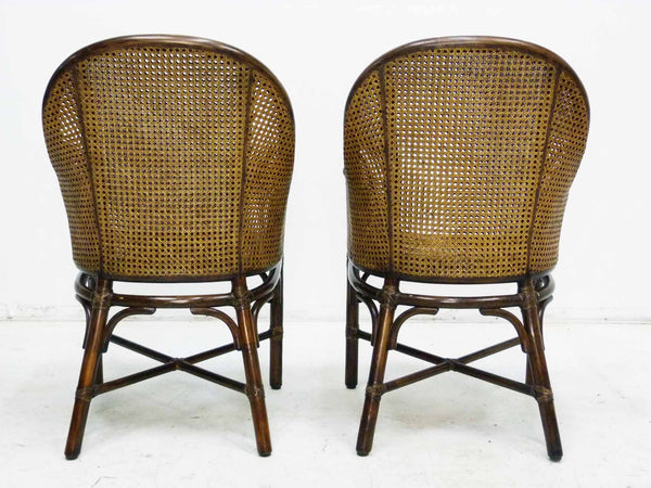 Bamboo Cane Barrel Chairs McGuire Back