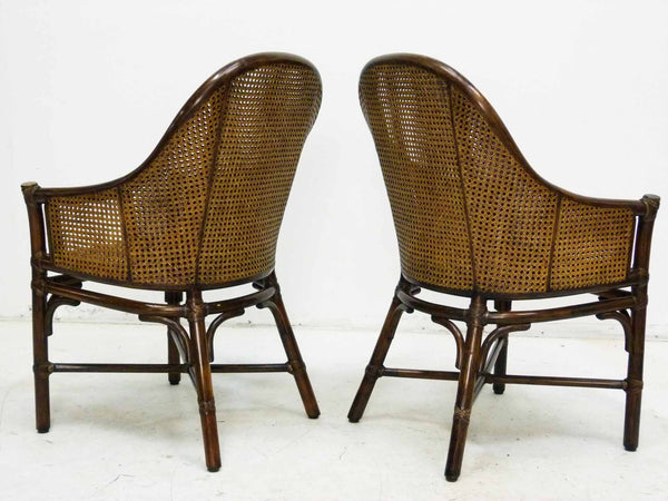 Bamboo Cane Barrel Chairs McGuire Back Angle