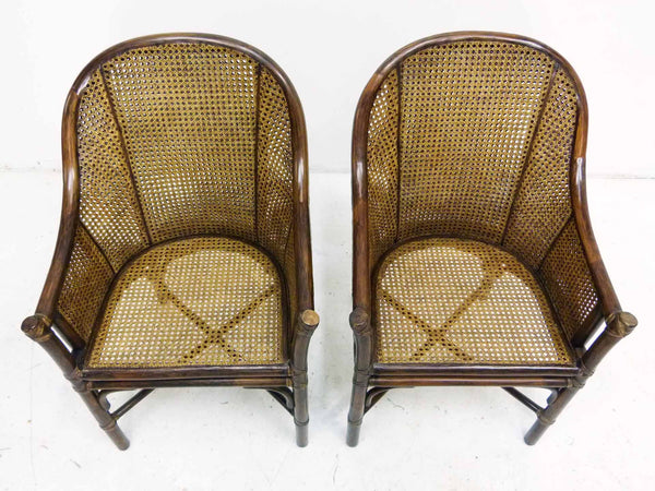 Bamboo Cane Barrel Chairs McGuire Top