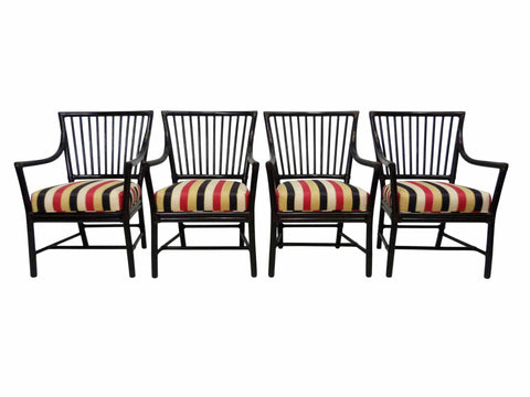 McGuire San Franscisco bamboo Dowel Back Dining Arm Chairs Set 4 1