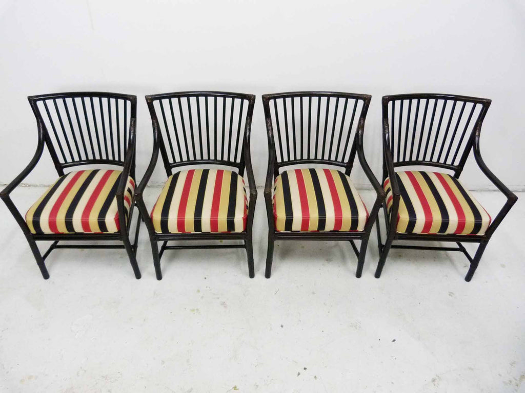 McGuire San Franscisco Bamboo Dowel Back Dining Arm Chairs Set 4 2
