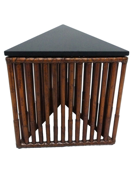 McGuire Moiré Triangle Side Table Black Granite Rattan 1