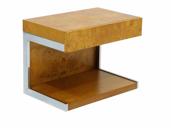 Burl Wood & Chrome Cantilever Side Table Nightstand Milo Baughman 1