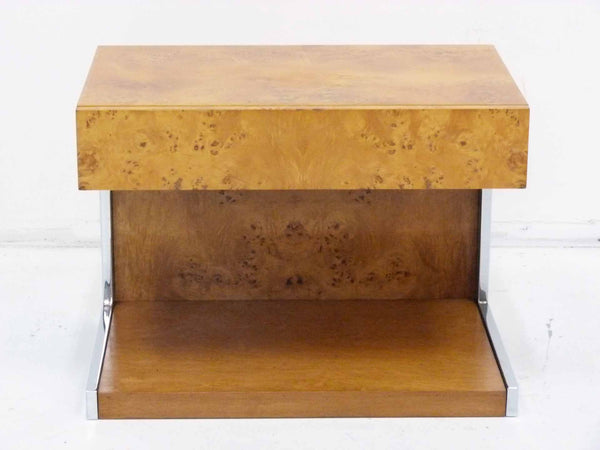 Burl Wood & Chrome Cantilever Side Table Nightstand Milo Baughman 2