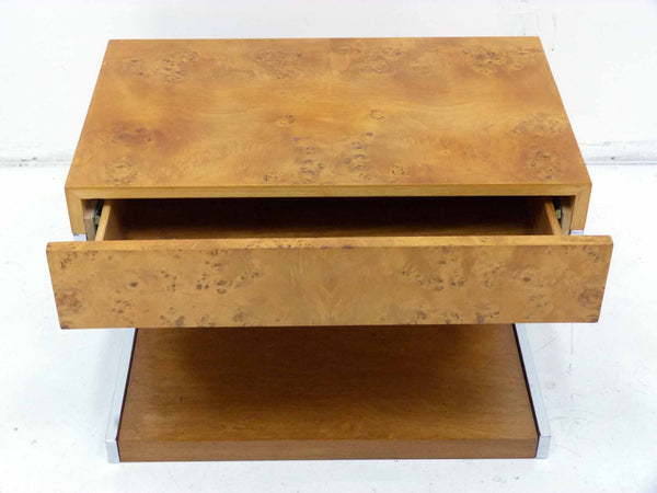 Burl Wood & Chrome Cantilever Side Table Nightstand Milo Baughman 3