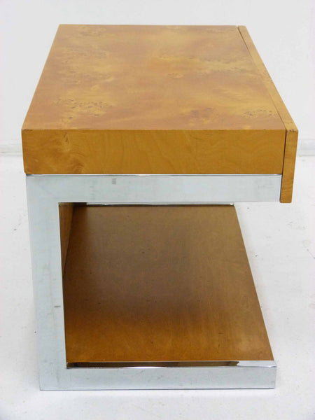 Burl Wood & Chrome Cantilever Side Table Nightstand Milo Baughman 5