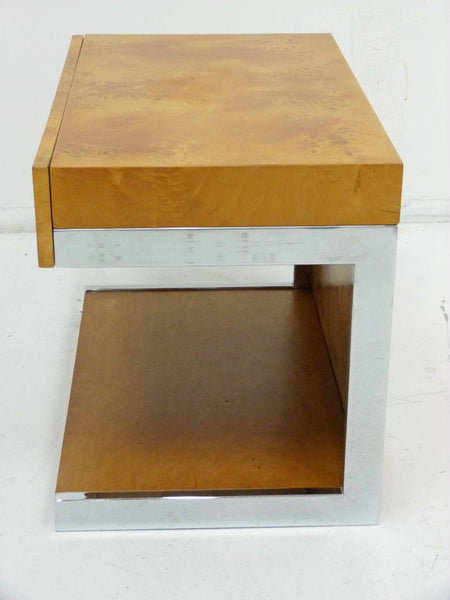Burl Wood & Chrome Cantilever Side Table Nightstand Milo Baughman 6
