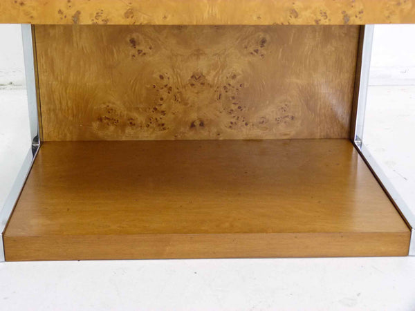 Burl Wood & Chrome Cantilever Side Table Nightstand Milo Baughman 7