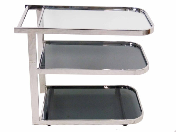 Milo Baughman Streamlined Chrome Vintage 1980s Flat Bar Tea Cart  1
