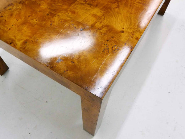 Burl Wood Parsons Dining Table attr Milo Baughman