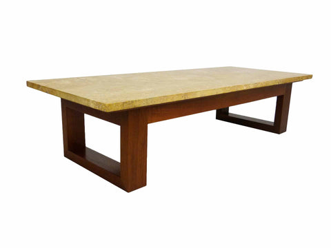 Modernist Travertine Walnut Mid Century Modern Coffee Table 1
