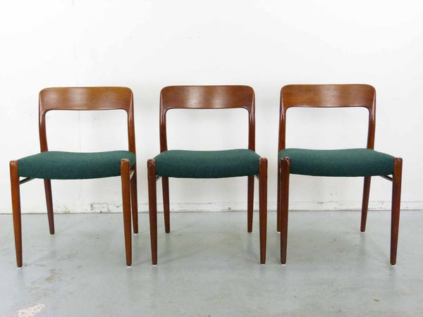 Niels Moller #75 Teak Dining Chairs Set six three 2