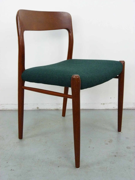 Niels Moller #75 Teak Dining Chairs Side Angle