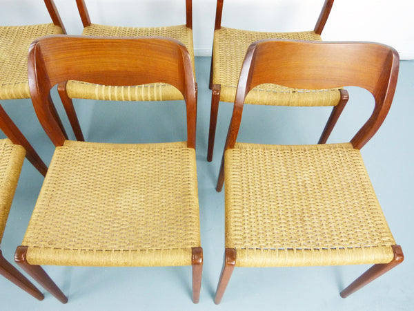 Niels JL Moller #71 Woven Dining Chairs Rush Rope 12
