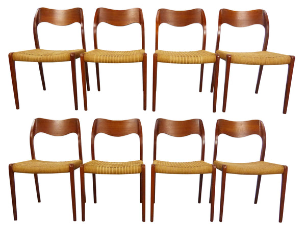 Niels JL Moller #71 Woven Dining Chairs Rush Rope 1