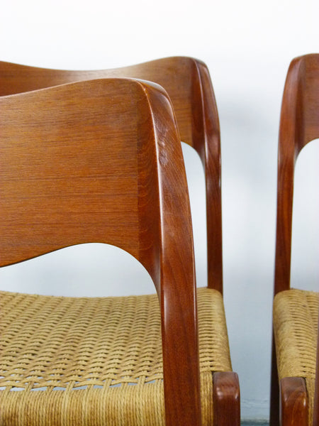 Niels JL Moller #71 Woven Dining Chairs Rush Rope 7