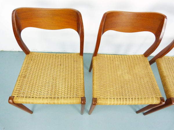 Niels JL Moller #71 Woven Dining Chairs Rush Rope 9