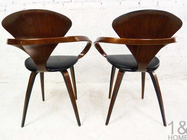 Pair of Norman Cherner Mid-Century Modern Pretzel Armchairs for Plycraft 4