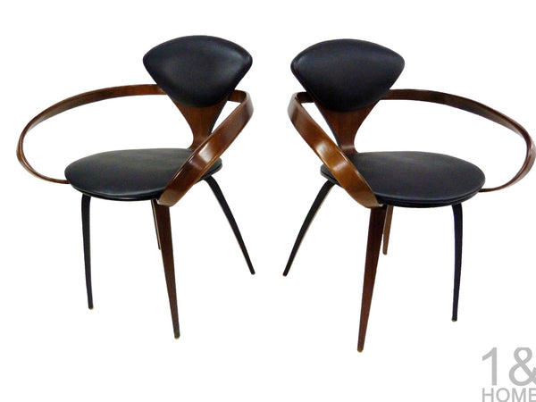 Pair of Norman Cherner Mid-Century Modern Pretzel Armchairs for Plycraft 1