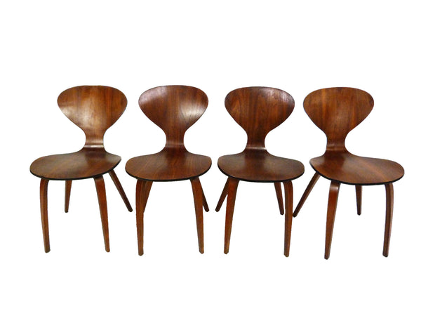 Set of 4 Molded Plywood Dining Chairs Norman Cherner Mid-Century Modern