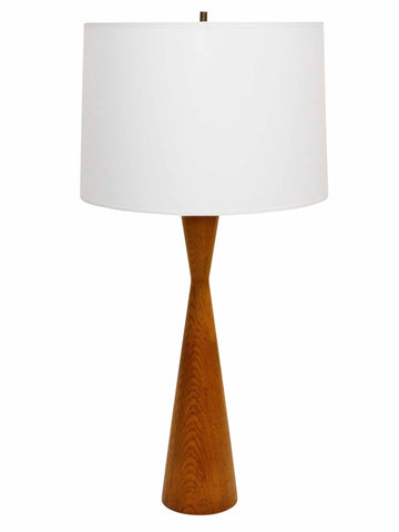Mid century Turned Oak Hourglass Table Lamp 1