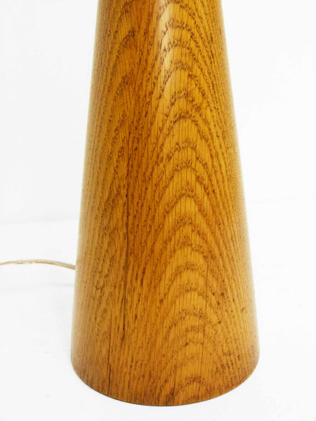 Mid century Turned Oak Hourglass Table Lamp 6