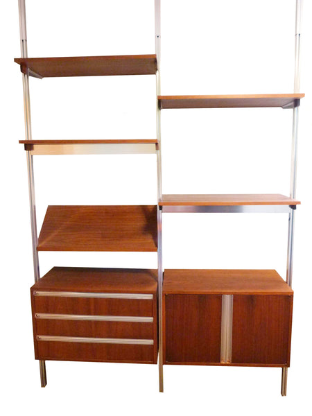 Omni Walnut Chrome Wall Unit Tension Nelson Mid-Century 1