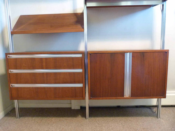 Omni Walnut Chrome Wall Unit Tension Nelson Mid-Century 5
