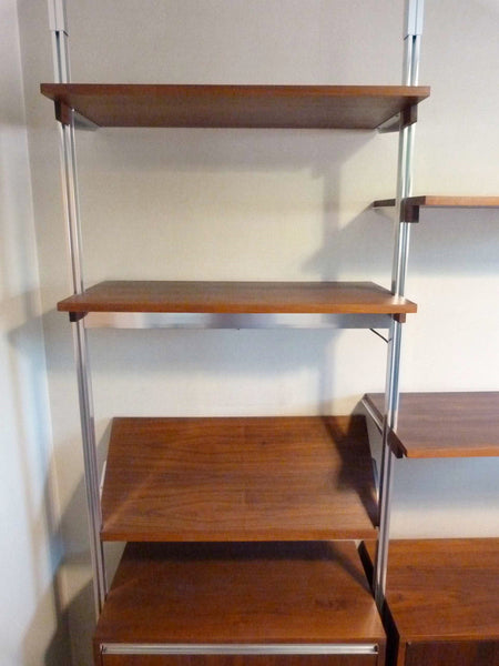 Omni Walnut Chrome Wall Unit Tension Nelson Mid-Century 6