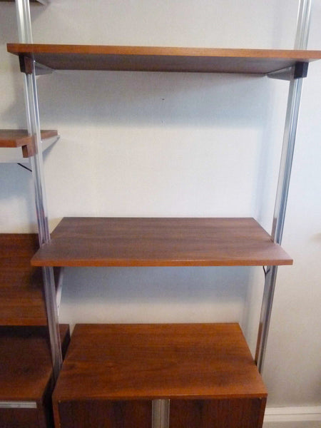 Omni Walnut Chrome Wall Unit Tension Nelson Mid-Century 7