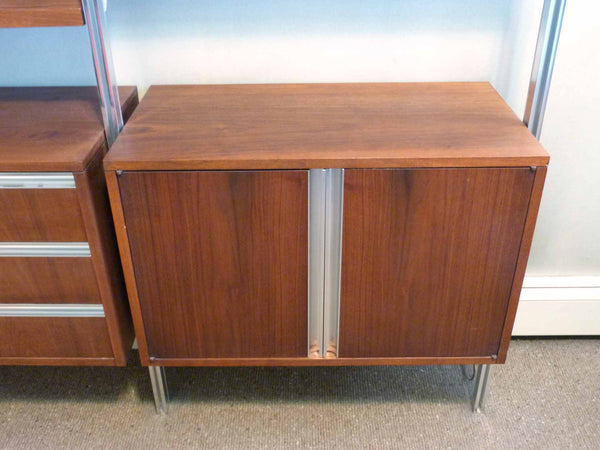 Omni Walnut Chrome Wall Unit Tension Nelson Mid-Century 8
