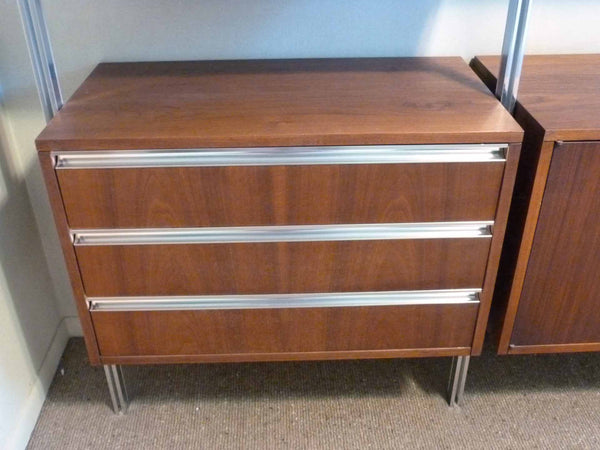 Omni Walnut Chrome Wall Unit Tension Nelson Mid-Century 9