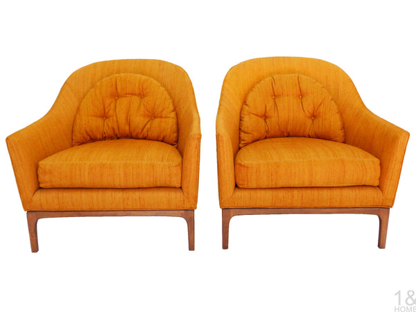 Barrel Back Mid-Century Club Lounge Chairs Wood Frame Milo Baughman Harvey Probber Img 1