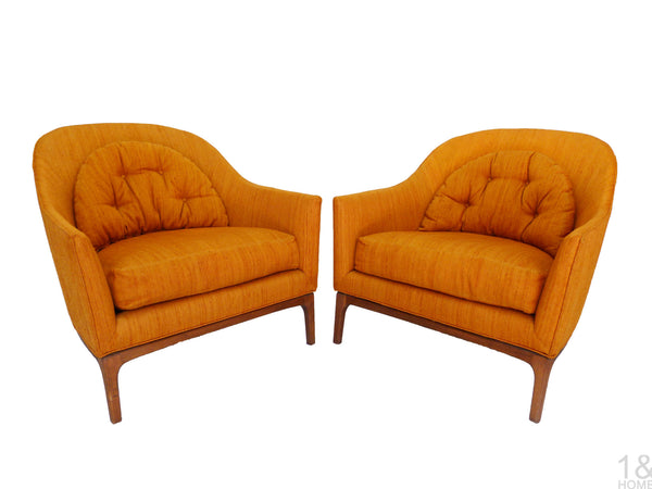 Barrel Back Mid-Century Club Lounge Chairs Wood Frame Milo Baughman Harvey Probber Img 2
