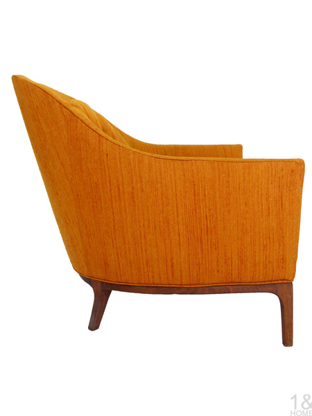 Barrel Back Mid-Century Club Lounge Chairs Wood Frame Milo Baughman Harvey Probber Img 4