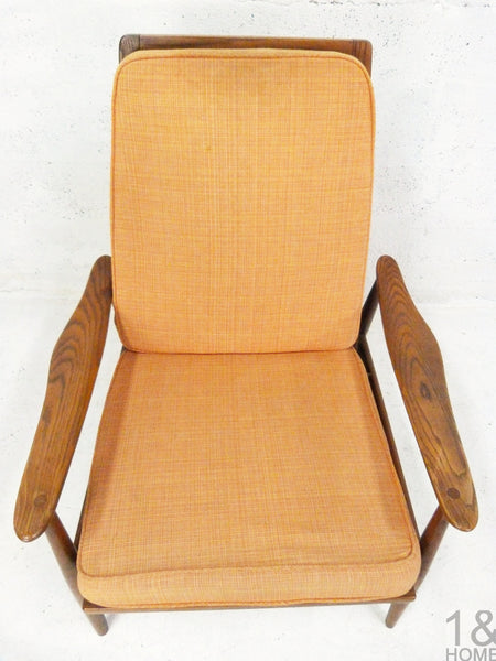 Danish Modern Oak Lounge Rocking Chair manner of Milo Baughman 4