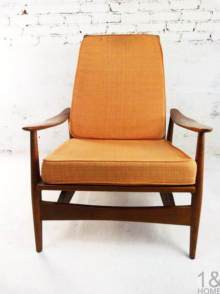 Danish Modern Oak Lounge Rocking Chair manner of Milo Baughman 3