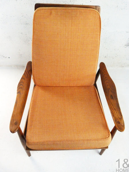 Danish Modern Oak Lounge Rocking Chair manner of Milo Baughman 2