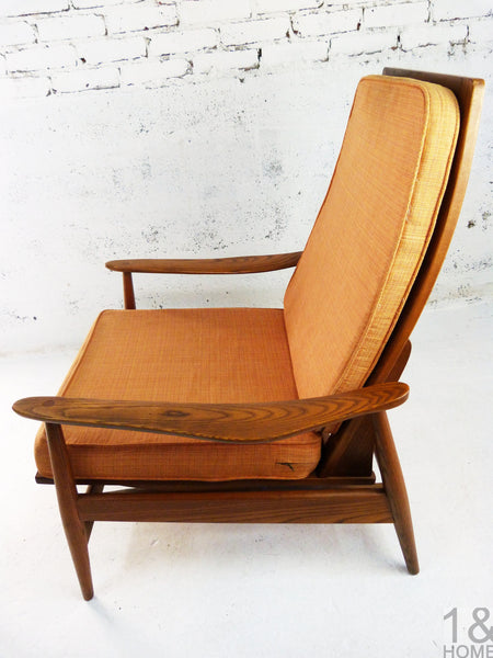 Oak Lounge Rocking Chair manner of Milo Baughman